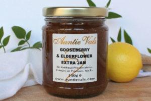 Auntie Vals gooseberry and elderflower extra jam