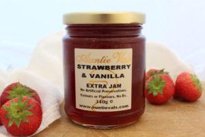 Auntie Vals strawberry and vanilla extra jam